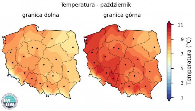Granice normy wieloletniej średniej temperatury powietrza w październiku (źródło: IMGW)