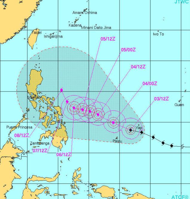 Tor ruchu tajfunu według prognozy sporządzonej 3 grudnia o godz. 15 UTC (JTWC)