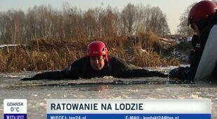 Akcja ratownicza na lodzie (TVN24)